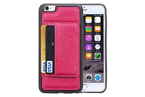 NEW Luxe en cuir véritable hommes portefeuille avec support Coque en TPU avec compartiments pour cartes bancaires pour Apple iPhone 5S/5C/6S/6plus/6splus/6 rouge - Rose