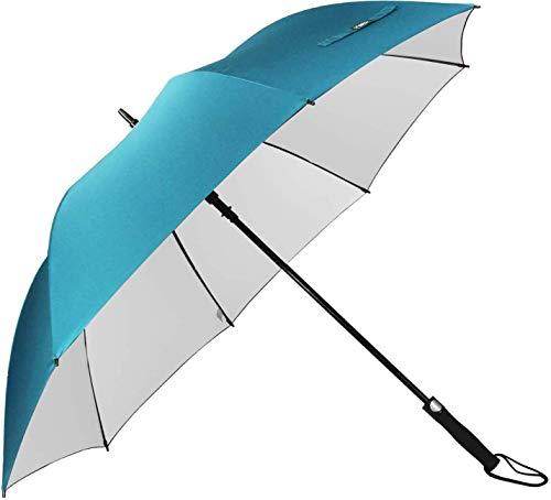 G4Free 62paraguas de Golf Plata Revestimiento grande toldo impermeable y a prueba de viento automático abierto sol protección Stick paraguas para hombres y mujeres, azul celeste