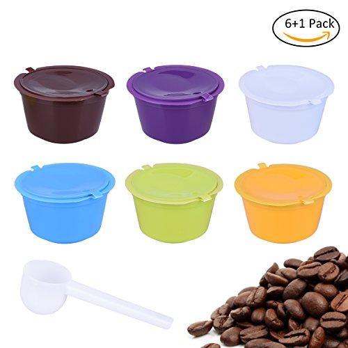 X-Mile Kaffeefilterset Inklusive 6 Kaffeekapseltassen in Sortierter Farbe 5.5x5.5x3cm und 1 Weisser Löffel Wiederverwendbarer Nachfüllbarer Kapselfilter für Nescafe Dolce Gusto Filter