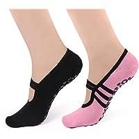 HARAVAL para Mujer Yoga Calcetines Antideslizantes para Pilates Barre Calcetines con agarres Ballet Zapatos 2Unidades, Mujer, Black&Pink