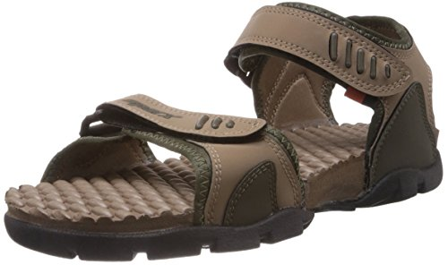 Sparx Men's Olive and Camel Brown Sandals and Floaters