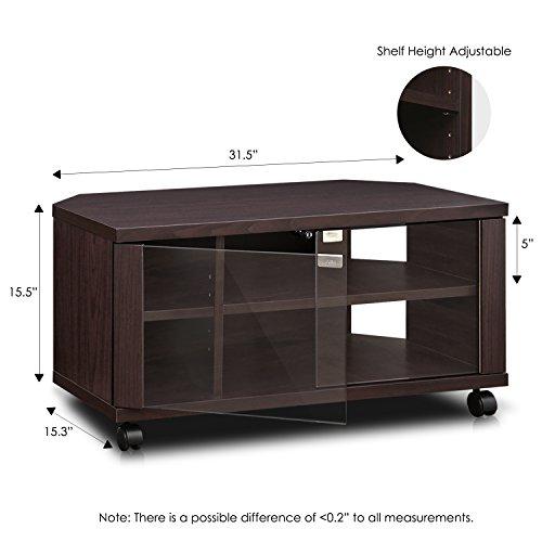 """41Cjp icb3L - Furinno Indo fl-800ex Soporte de TV con Doble Puertas de Cristal y Ruedas, 2x 2,""""Espresso"""