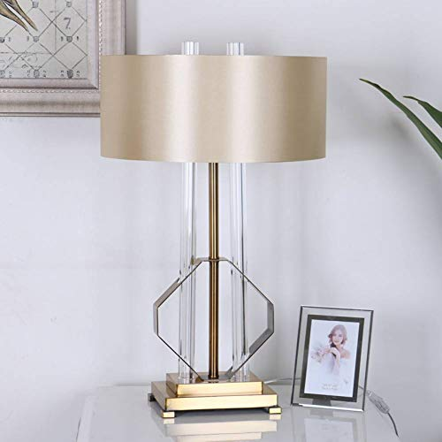 JFHGNJ Tischlampe Modern Led Table Lamp Glass Column Diamond-Shaped Metal Frame Bedroom Living Room Next To The Lamp Home Decoration