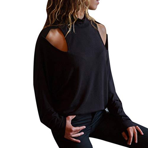 Btruely Damen Blusen Off Shoulder T-Shirt Groß Größe Trägershirt Langarm Pullover Elegant Langarmshirt Loose Fit Sweatshirt