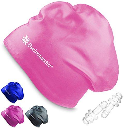 Swimtastic – Badekappe Für langes Haar + Ohrenstöpsel, Rose