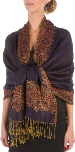 Sakkas a doppio strato di tessuto patterned confine sentire come pashmina scialle / stole per le donne-zaffiro