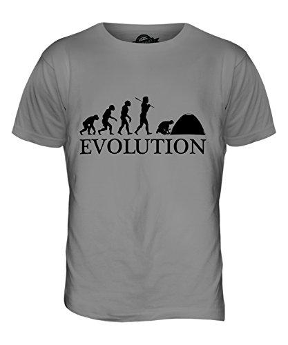 CandyMix Campeggio Evoluzione Umana T-Shirt da Uomo Maglietta Grigio chiaro