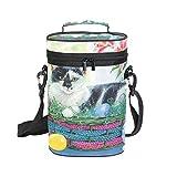 EZIOLY Sac de transport isotherme avec poignée et bandoulière Motif chat de Pâques