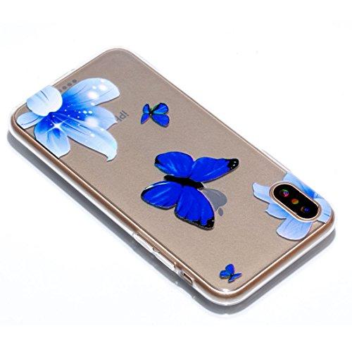 iPhone X Custodia,Fiore Patate Modello di sollievo in vernice Custodia in TPU Gel Ultra sottile [Trasparente] Custodia protettiva in gomma flessibile case cover para for iPhone X colour *6