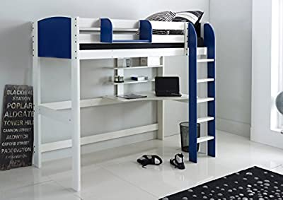 Scallywag Kids High Sleeper Bed - White/Blue - Straight Ladder - Integral Desk & Shelves. Made In The UK.