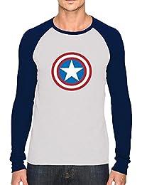Bookmytees Captain America Fan Art Full Sleeves Printed Cotton T-shirt For Men
