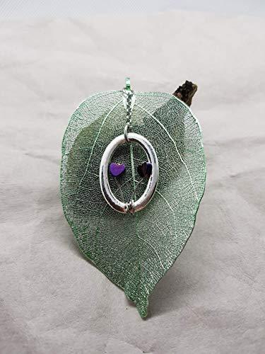 echtes Blatt ♡ Anhänger für Halskette ♡ Damen ♡ Valentinstag ♡ Herz ♡ galvanisiert ♡ Edelstahl ♡ handmade ♡ lila und grün