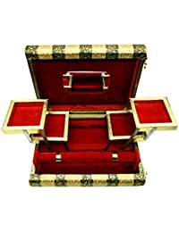 SARANGWARE Handmade Oxidised Wooden Jewellery Box for Women, 1 Roll Bangle with 5 Compartment Jewellery Box with Free Mirror (SWOXY17)