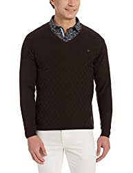 Louis Philippe Mens Woollen Sweater (8907545554406_LPSW516M18145_Medium_ Black Solid )