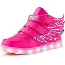 AFFINEST Zapatos Kids SneakerS LED 7 Colores de Carga USB para Intermitente Zapatos con Luces de Los Niños y Niñas para la Acción