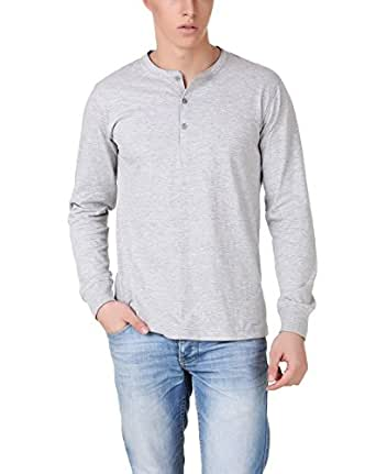 Aventura Outfitters Henley Full Sleeves Light Grey T-Shirt - M (AOTE52-M)