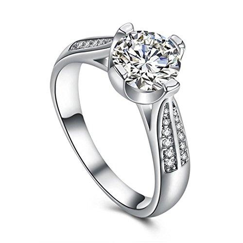 (Damen Mädchen Ehering Verlobungsring Ringe Mingfa 2018Fashion Flower Kristall Diamant Ring Party Schmuck, Legierung, Silber, 8)