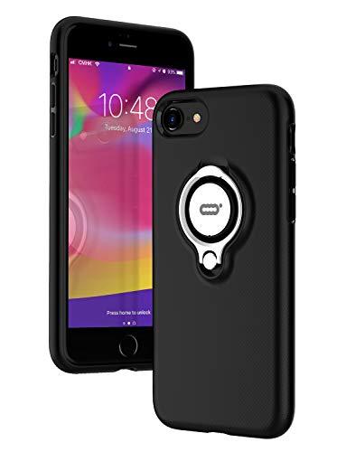 ICONFLANG iPhone 7 Hülle, iPhone 8 Tasche mit Ringständer, 360 Grad drehbarer Ring Grip Case, Dual Layer Stoßfest Schlagschutz für iPhone 8, iPhone 7, Kompatibel mit Magnetic Car Mount