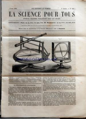 SCIENCE POUR TOUS (LA) [No 22] du 03/05/1860 - LA DECLINAISON ET L+¡INCLINAISON PAR L. GIRAUD ENTOMOLOGIE ANALYTIQUE PAR A. DUPUIS SUR LES OCCULTATIONS PAR G. BRESSON NOUVELLE CHAUDIERE A VAPEUR PAR G. JOUANNE CROCODILES DE L+¡OUED-TAKMALET PAR LE BEN H. AUCAPITAINE - ACADEMIE DES SCIENCES PAR A. DUPUIS - FAITS SCIENTIFIQUES ET INDUSTRIELS BIBLIOGRAPHIE - CUBAGE DES BOIS. par Collectif