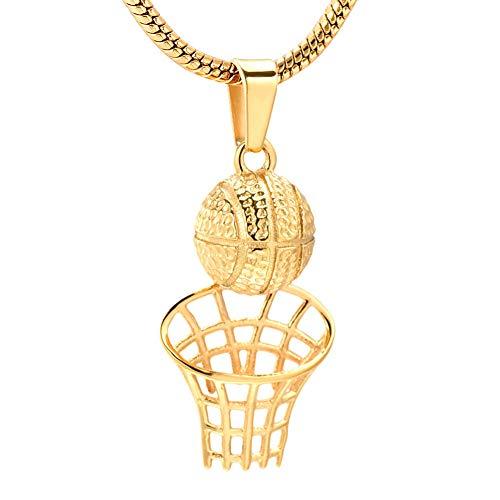 AGHWSL Personalisierte Basketballkorb Edelstahl Memorial Urne Schmuck für Männer Frauen Andenken Feuerbestattung Anhänger Halskette