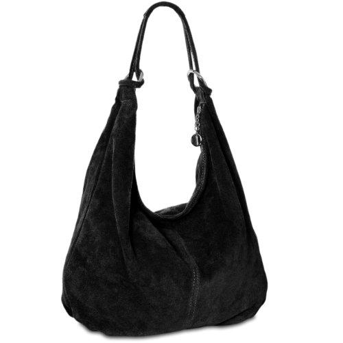 CASPAR TL617 Damen Vintage Veloursleder Tasche / Handtasche / Hobo Bag / Shopper, Farbe:schwarz