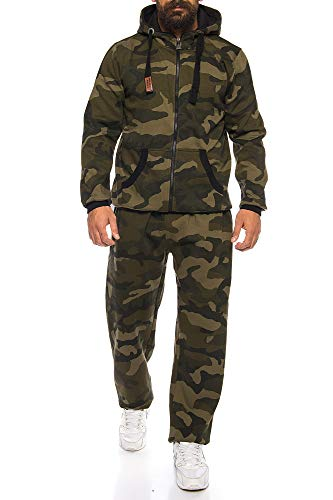 Finchman Finchsuit 1 Herren Jogging Anzug Trainingsanzug Sportanzug FMJS135, Camo Grün, 4XL -