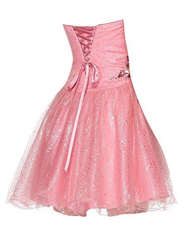 Dressystar Robe femme, Robe de bal courte à Col en Cœur, Sans Bretelles,à paillettes, perlée en Tulle Blush
