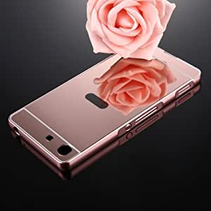 Crazy4Gadget For Sony Xperia M5 Mirror Push Pull Back Shell Cover + Electroplating Bumper Frame Protective Combination Case (Rose Gold)