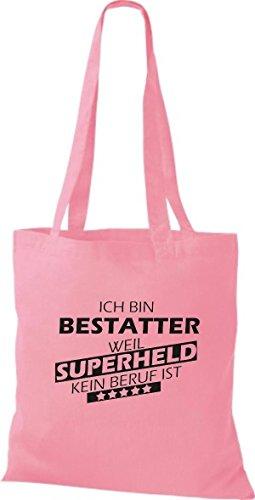 Shirtstown Stoffbeutel Ich bin Bestatter, weil Superheld kein Beruf ist rosa
