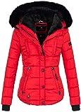 Marikoo warme Damen Winter Jacke Winterjacke Steppjacke gefüttert Kunstfell B618 [B618-Lotus-Rot-Gr.M]