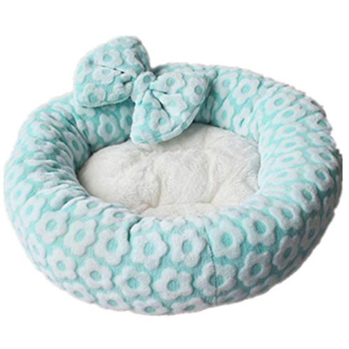 RuiHuang Pet Dog Bed Kennel Soft Round Pet Lounger forDogs Sleeping Cushion Warm Cat Nest Dog Beds Basket Sofa Green M 50cm -