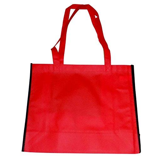 wiederverwendbar Lebensmittel-Taschen-Umweltfreundlich Stoff Einkaufstasche Tragetaschen (Set von 5)-40,6x 33x 15,2cm rot (Tuch Bulk-lebensmittel-beutel)