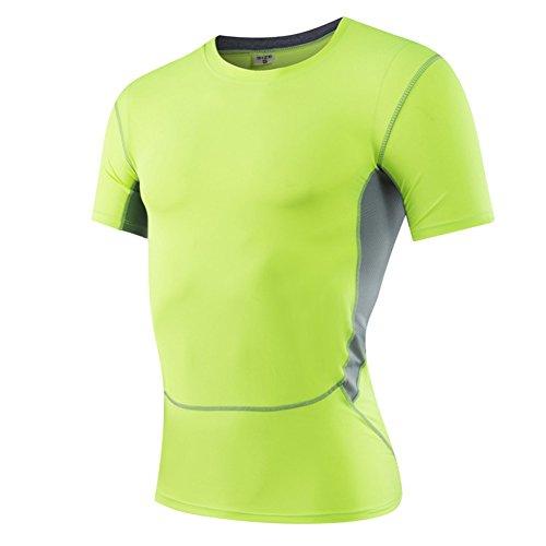 AiJump Herren Kompression Under Base Layer Sportlich Fitness T-Shirt  Muskelshirt mit Herrenleggings Hose Kurz ...