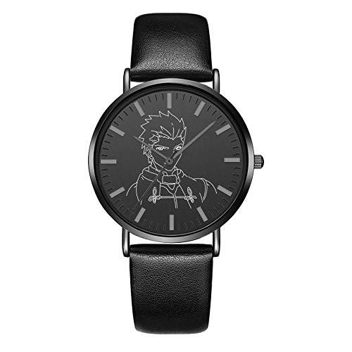 Armbanduhren Schicksal Glücksstein Anime Um Männer Und Frauen Wasserdicht Modetrend Kinder Geschenk Uhr Schwarzes Leder F -
