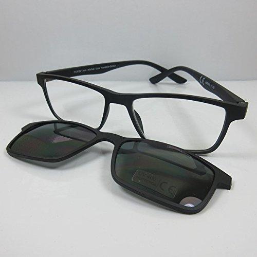 MT Lesebrille mit getöntem Magnet Clip UV400 schwarz Lese-Sonnenbrille SIE & IHN +3,0
