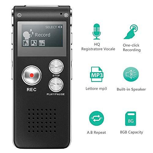 Tanouve Registratore Vocale Portatile - 8 GB Voice Recorder con porta mini USB,Lettore musicale MP3