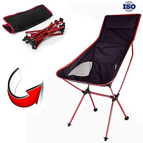 Risilays sedia da campeggio allungata pieghevole, sgabello portatile leggero con borsa da trasporto, per escursionismo, pesca, spiaggia feste all'aperto con nylon e lega di allumini (rosso)