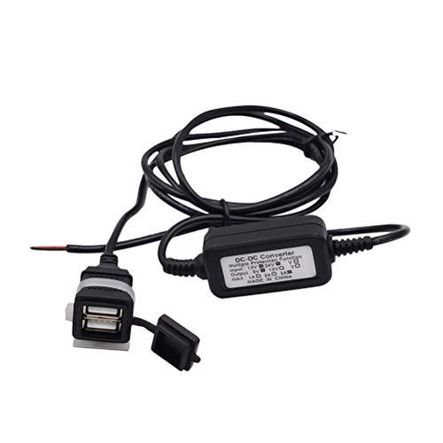 Vosarea USB-Ladegerät für Motorrad, mit Universal-Ladegerät, wasserdicht, 12 V - 24 V, Doppel-USB, für Tablet Smart Phone GPS (Schwarz) - Universal Gps-home Charger