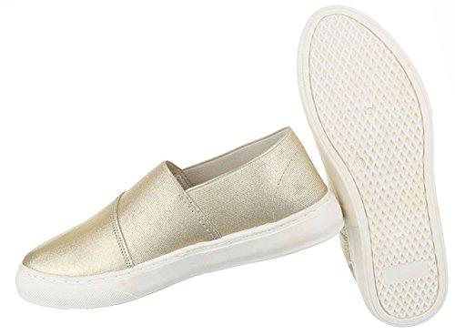 Damen Schuhe Halbschuhe Slipper Freizeitschuhe Schwarz Gold