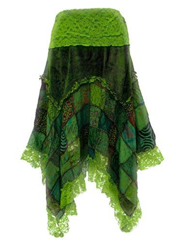 Dark Dreams Gothic Witchy Fairy Pagan Rock Zipfel Pixie Elfe Skirt Samt Spitze Patchwork Ethno Zahide 38 40 42 44 46 48 50, Farbe:grün, Größe:XXL - 2