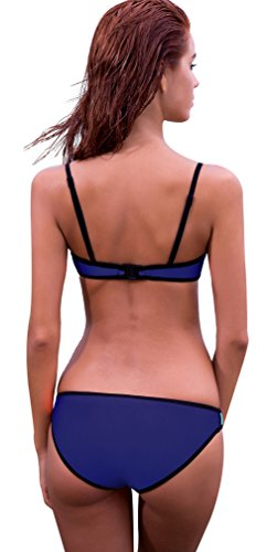 TDOLAH Neoprene Sexy Damen Sport bunt Bikini-Set Push up Basketball mit Trägern Blue