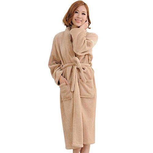 Peluche col ch?le Veste polaire long Kimono Pyjama Peignoir Robe Wrap Kaki