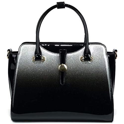 Frauen Top Griff Handtasche Lackleder Handtaschen für Frauen Glänzende Umhängetasche Tragetaschen für Damen Mädchen (Schwarz)
