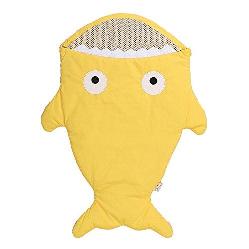 Sacco a pelo neonato, lemonda bambino sacco a pelo cotone a forma di squalo, morbido e comodo, coperta per divano e letto, sacco a pelo pesce per passeggino (giallo)