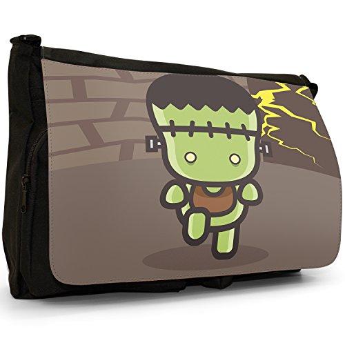 Frankenstein in Labor Große Messenger- / Laptop- / Schultasche Schultertasche aus schwarzem Canvas
