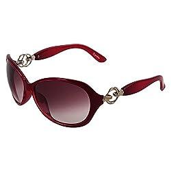Zyaden Mahroon Oval Sunglasses Women 162
