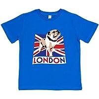 Paw Prints Kids' British Bulldog T-Shirt | Blue or Pink | Organic Cotton