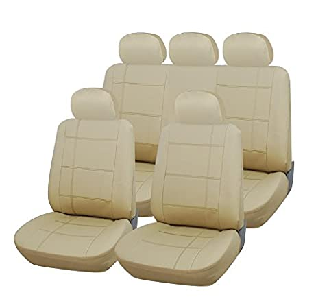 BEIGE REAL LEATHER LOOK SEAT COVERS FOR TOYOTA YARIS SR 07-09