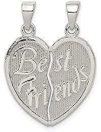 48deff96617d Colgante de corazón de plata de ley pulida con el texto en inglés