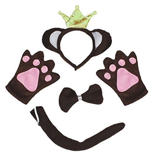 Petitebelle Monkey King Brown Headband Bowtie Tail Gloves Children 4pc Costume (One (King Monkey Kostüm)